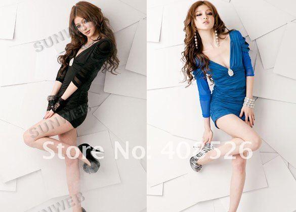 New Korean Women's Sexy Slim Fitting Blending Series Mini Dress Deep V-Neck