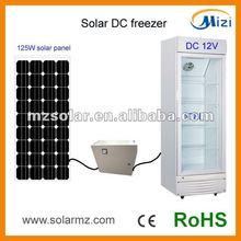 2012 Newest design DC 12V 178L solar display refrigerator with CE,CB