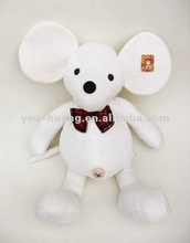 Big ear white plush mouse stuffed animal