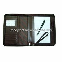 A6 zipper pu portfolio with notepad and calculator