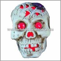 halloween wholesaler ceramic skulls with led light