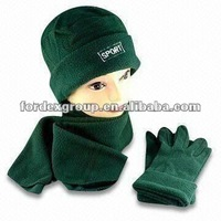 Scarf/Gloves/Hat, Made of Polar Fleece, Customized Colors and Designs are Accepted