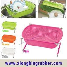 Silicone kitchen sink draining storage basket
