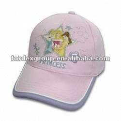 Girl's printed Princess Hat with Contrast Piping and Binding around Peak