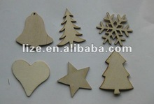 laser cut wood christmas hanging decoration/tree star snowflake bell heart