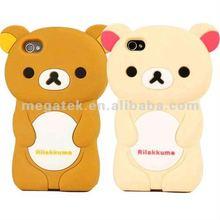phone case Rilakkuma 3D Bear Silicone case for iphone 4 4s,for iphone 4s case silicone, for iphone case 4s 5s 6