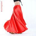 Satén rojo de danza del vientre falda, danza del vientre ropa, ropa de baile del vientre