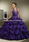 2014 New Arrival Taffeta Purple Halter Ball Prom Dresses 6626