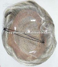 Gray White Human Remy Hair Piece Men's Toupee Wigs For Men