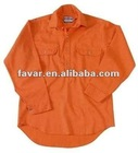 Polyester Cotton Drill Orange Gray Workwear Shirts Workwear Safety Long Sleeve Work Shirts