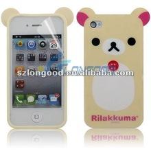 Super Cute Relax Rilakkuma Lazy Bear TPU Case + Screen Protect for iPhone 4