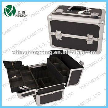 professional artist black makeup case aluminum makeup train case