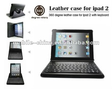 Swivel leather Case for iPad 2 tablets with wireless keyboard