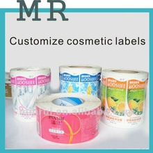 Private label cosmetics,custom Adhesive stickers in rolls,Adhesive Labels for bottles