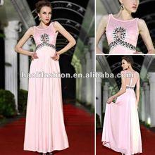 2012 hot sale fashional pink off-shoulder beaded korean dress fashion pink