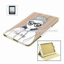Tablet case cover Glasses Boy 3d folio leather case for ipad 2 3 4, for ipad case leather folio
