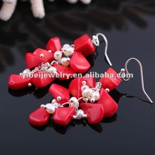 2012 Classic white pearl and coral earring jewelry