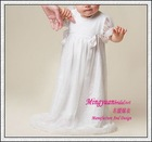 Roung neck white appliqued organza baby christening gowns