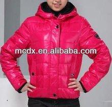 Shiny Korean fashion ladies red winter jackets
