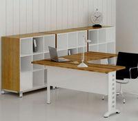Steel led wooden top, office steel leg desk