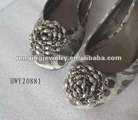 2012 Fashinable glass beads fabric flattie shoe clips