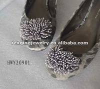 2012 Fashinable crystal grey stone beads fabric flattie shoe clips