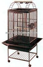 Parrot Bird Wrought Iron Cage Antique Silver / Black Vein