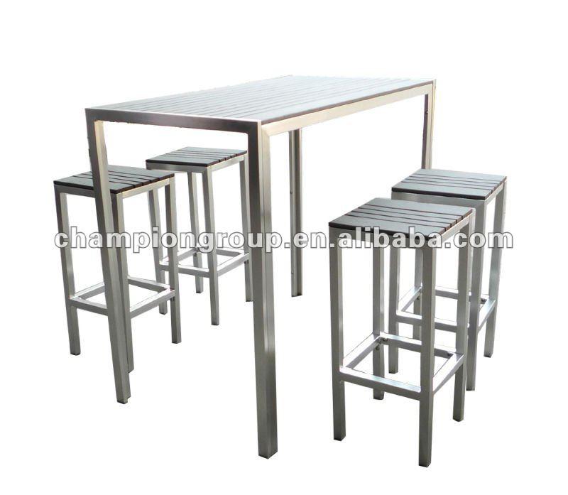 En Plein Air Table De Chaise De Bar Avec Cadre En Aluminium Et Polywood Table Top As 3725