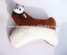 Small panda on top plush bone shape pillow