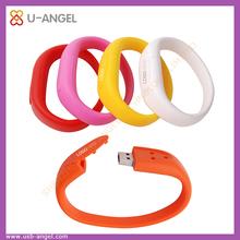Best selling full capacity colorful wrist strap waterproof 4gb custom usb wristband flash drive
