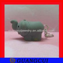 fashion elephant sound and key ring with led light