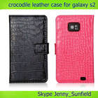 Mobile phone case crocodile wallet leather case for samsung Galaxy s2, for samsung galaxy s2 case