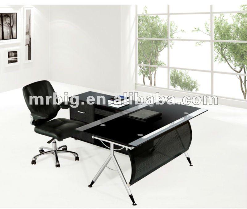 Negro muebles de oficina, Cristal temperamento de escritorio, Cristal