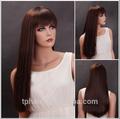 Nuevo estilo de estrellas rebecca pelucas largas/peluca sintética/profundo marrón completo del pelo recto para las mujeres