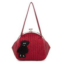 2012 fashion lady Bear castle series woolen yarn shoulder bag