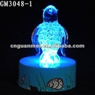 decorative glassware with led and penguin