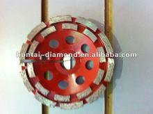 Double row diamond cutting disc for concrete floor