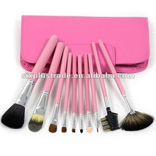 Free Shipping Brand New 10 pcs Pink Makeup Brush Set With a Pink Case