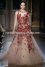 2012 zuhair murad style long sleeve red lace wedding dress