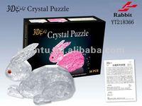 Plastic PS DIY 3D crystal rabbit puzzle