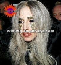 fashionable natural straight grey color synthetic hair kanekalon wigs