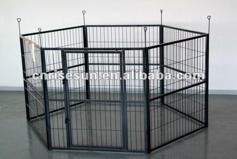 Large white - recubierto de metal de gran perro de perrera 6 paneles