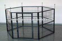 large white -coated large metal dog kennel 6 Panels