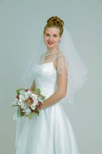 VEIL064 New Style Two-layer Tulle Red and White Veils