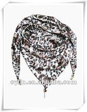 Leopard prints triangle satin pendant scarf