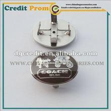 Geunine leather handbags metal tags with grey hard enamel process