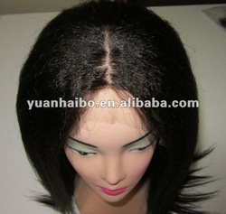 "18"",#1b,Human Hair Kinky Straight 4x4 Silk Top Full Lace Wigs"