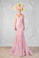 2015 Sexy lace open back blush pink beach wedding dresses