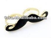 Fashion alloy black beard double finger ring