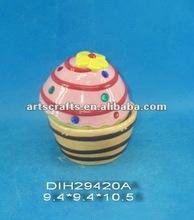 Ceramic candy/sugar jar in ice-cream design